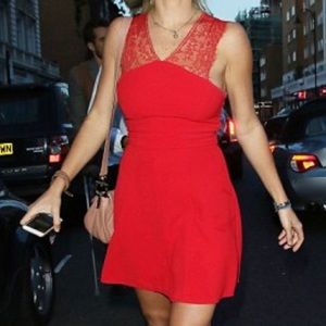 The kooples new red with lace midi dress